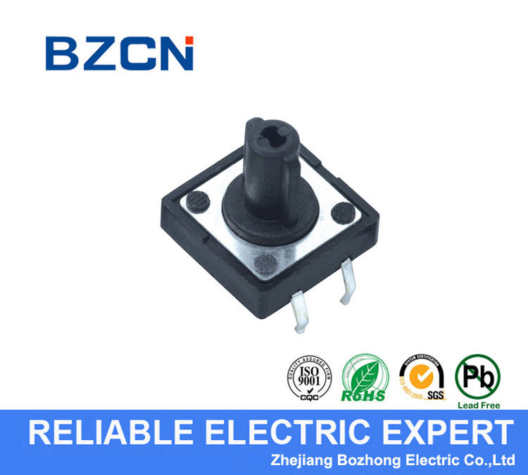 Black Round Button SMD Tactile Switch Through Hole Type Terminal 4 Pin With Cap Insert