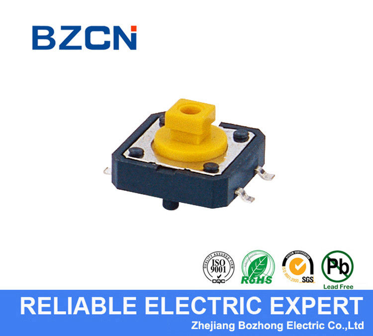 Momentary Yellow Miniature Tactile Switch / Square Push Button 4 Pin Terminal