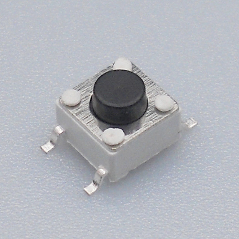 White Case Black Button 6mm Momentary Push Button Switch 4 Pin Terminal